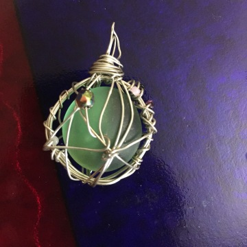 Green seaglass encircled