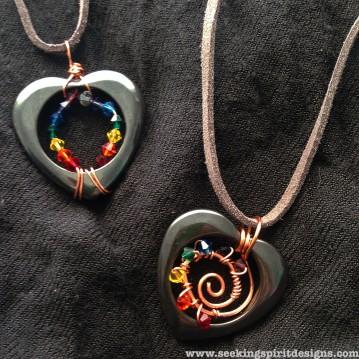 Hematite Heart Swirl Pendants