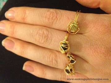 Small Stone Wire Rings