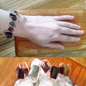 Copper ridge bracelet with with jasper, red tiger's eye, and onyx beads