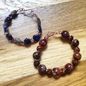Lapis and Labraodorite Copper Twist bracelet and Jasper and Wood Bead bracelet