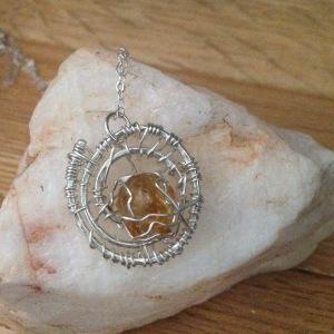 Custom made piece:  Citrine Spiral Nest in Argentinium Silver