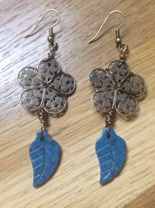 Brass Flowers with Lapis Lazuli Leaves Earrings