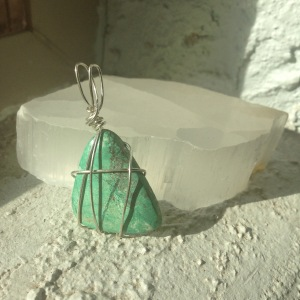 Triangular turquoise in sterling silver