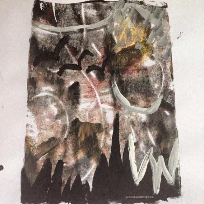 """Ridged and ragged.""  Monoprint/painting"