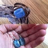 kyanite earrings and ring