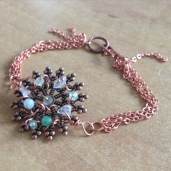Gemstone beads with copper plated filigree centerpiece
